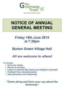 Greenway Trust AGM 2015 Poster